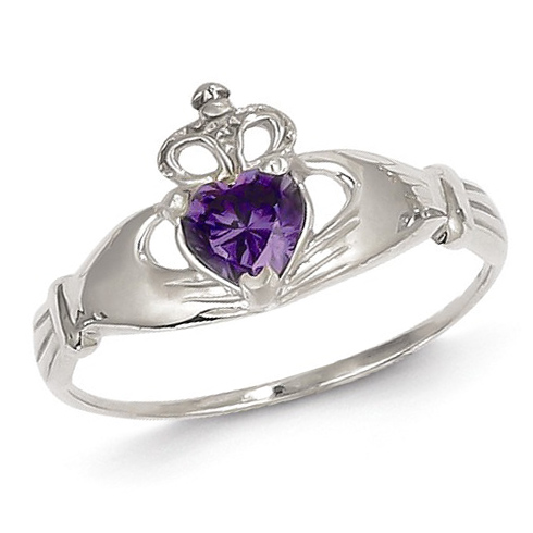 14kt White Gold Claddagh Ring with Purple CZ