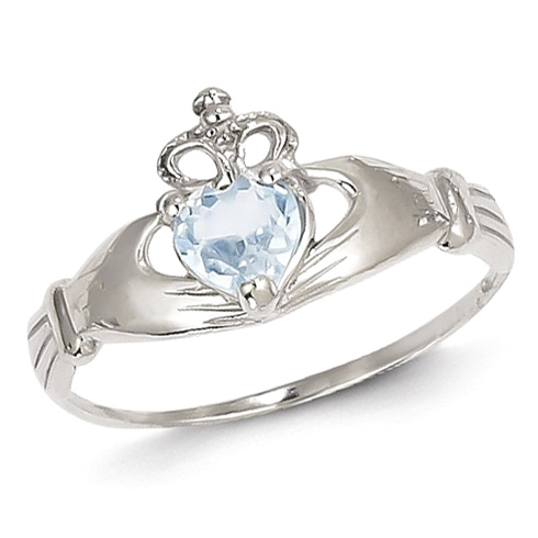 14kt White Gold Claddagh Ring with Aquamarine CZ