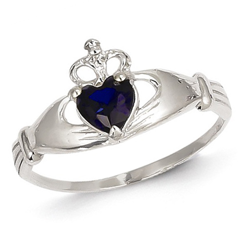 14kt White Gold Claddagh Ring with Sapphire CZ