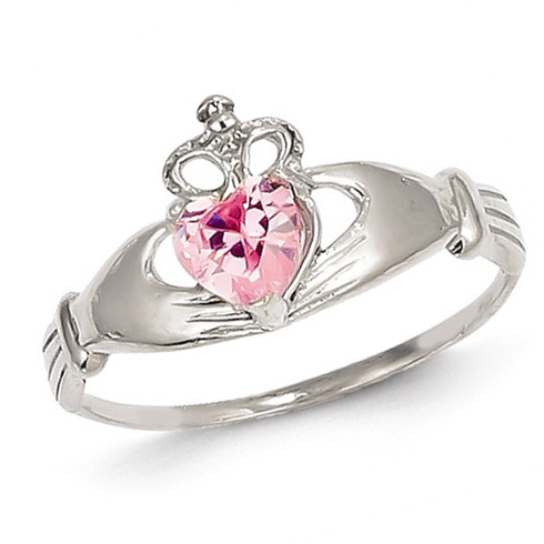 14kt White Gold Claddagh Ring with Pink CZ