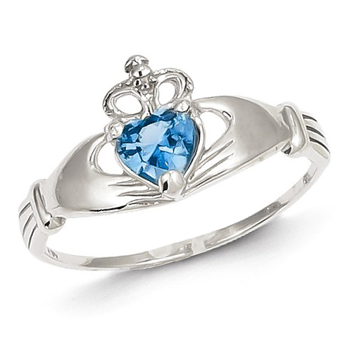14kt White Gold Claddagh Ring with Blue Topaz CZ