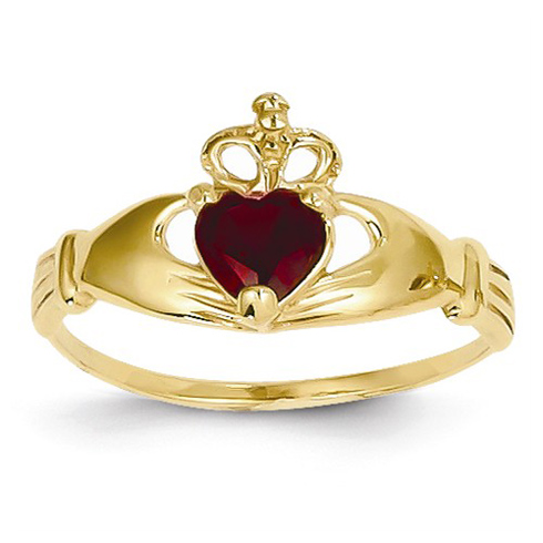 14kt Yellow Gold Claddagh Ring with Red CZ