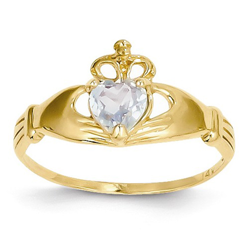 14kt Yellow Gold Claddagh Ring with Aquamarine CZ