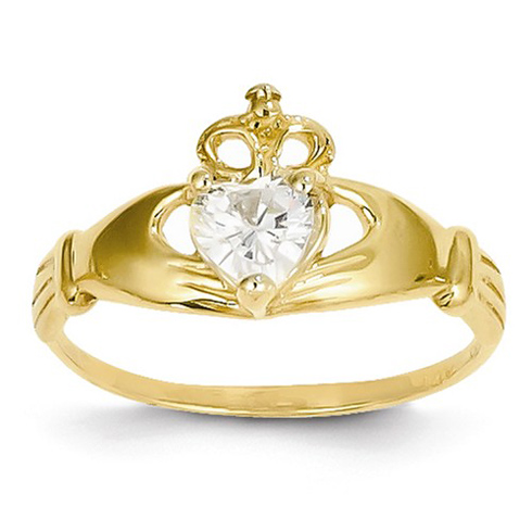 14kt Yellow Gold Claddagh Ring with White CZ
