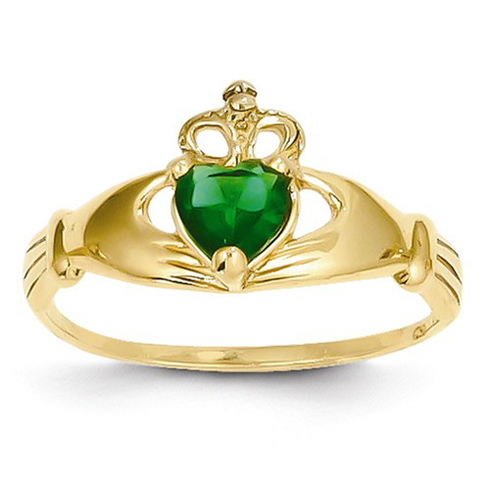 14kt Yellow Gold Claddagh Ring with Emerald CZ