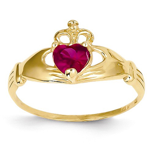 14kt Yellow Gold Claddagh Ring with Ruby CZ