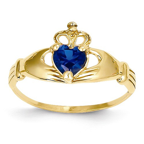 14kt Yellow Gold Claddagh Ring with Sapphire CZ