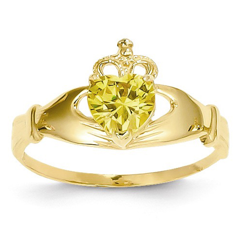14kt Yellow Gold Claddagh Ring with Gold CZ