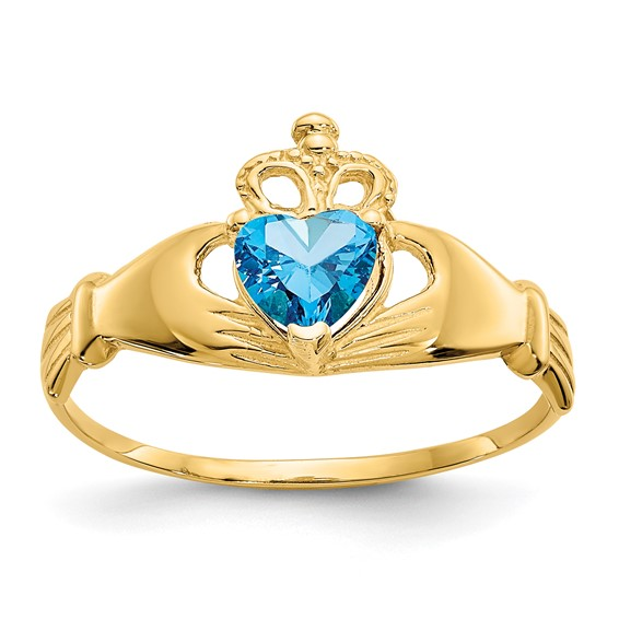 14kt Yellow Gold Claddagh Ring with Blue Topaz CZ