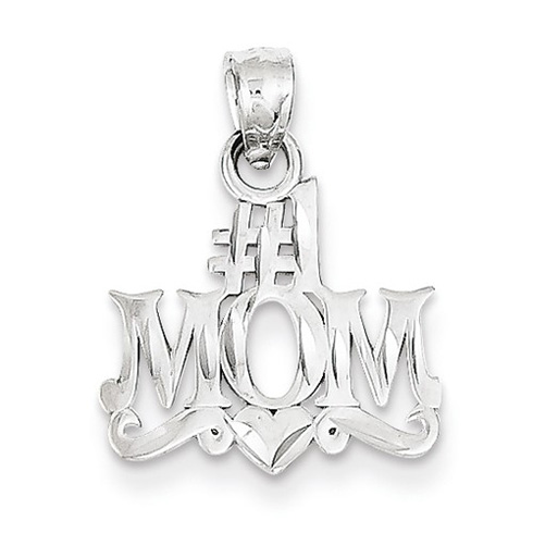 14kt White Gold 1/2in #1 Mom Charm with Heart