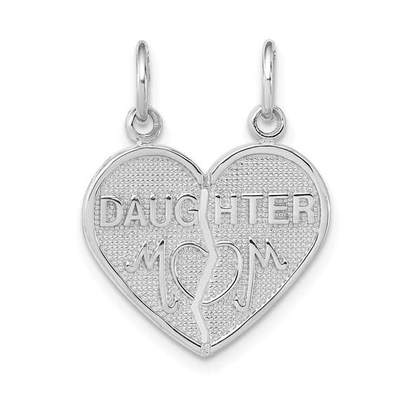 14kt White Gold 5/8in Daughter Mom Break Apart Heart Pendant