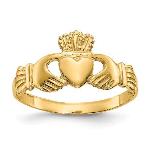 14kt Yellow Gold Claddagh Ring with Grooves