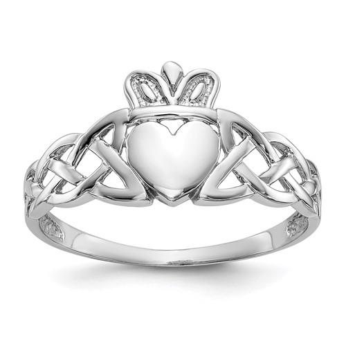 14kt White Gold Men's Claddagh Celtic Knot Ring