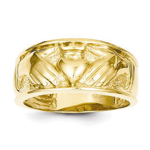 14kt Yellow Gold 11mm Men's Claddagh Band