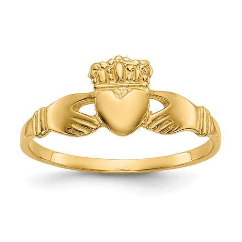 14kt Yellow Gold Slender Claddagh Ring