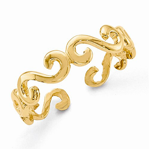 14kt Yellow Gold Swirl 6mm Toe Ring