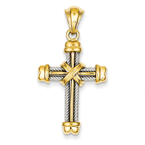 14kt Two-tone Gold 1 1/8in Cross Pendant