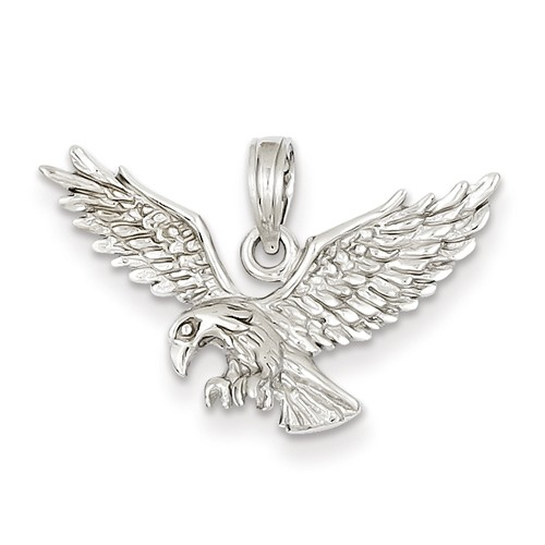 14kt White Gold 5/8in Outstretched Eagle Pendant