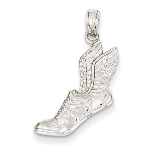 14kt White Gold 3/4in Running Shoe with Wings Pendant
