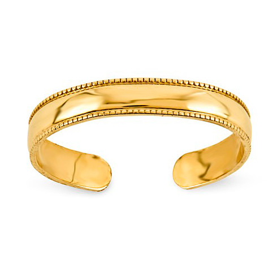 14kt Yellow Gold Milgrain 3mm Toe Ring