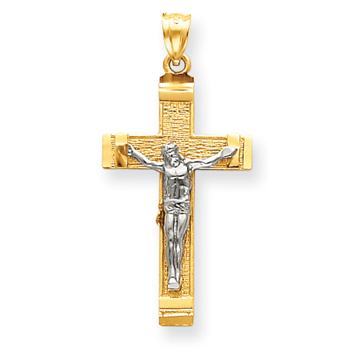 14kt Two-tone Gold 1 1/4in Crucifix Pendant with Satin Finish