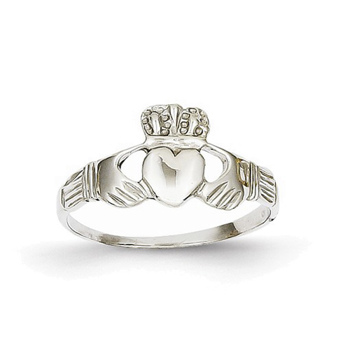 14kt White Gold Claddagh Ring with Grooves