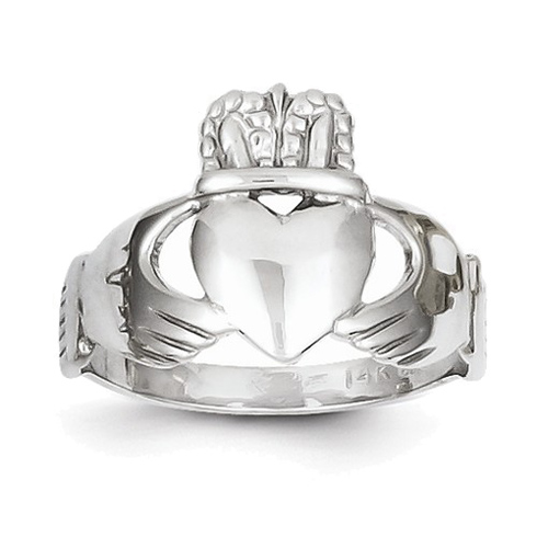 14kt White Gold Claddagh Ring with Open Back