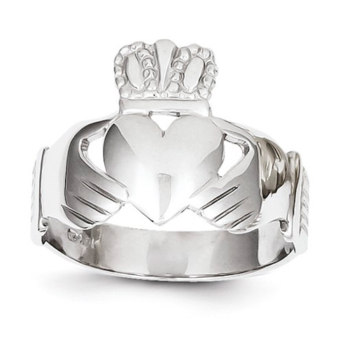 14kt White Gold Men's Claddagh Open Back Ring
