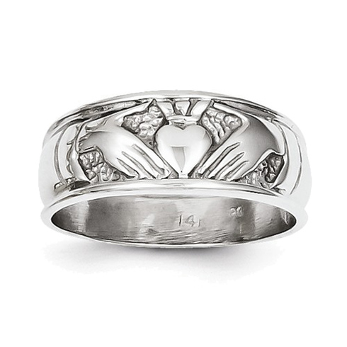 14kt White Gold 7mm Ladies' Claddagh Band