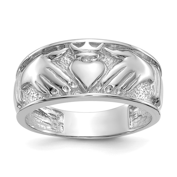 14kt White Gold 11mm Men's Claddagh Band