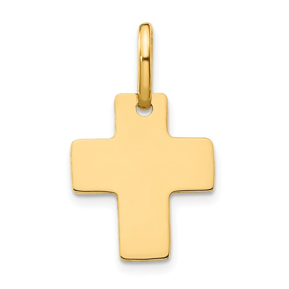 14kt Yellow Gold 5/8in Polished Cross Charm