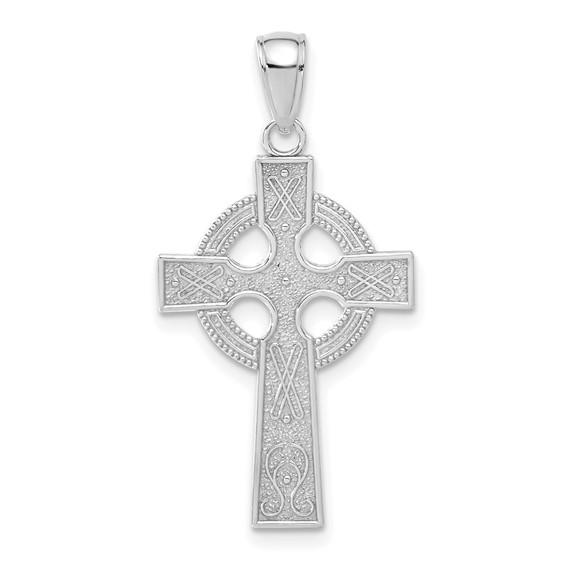 14k White Gold Celtic Cross Pendant 1in
