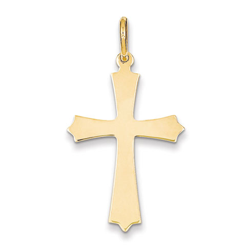 14kt Yellow Gold 1 1/4in Pointed Crusader Cross