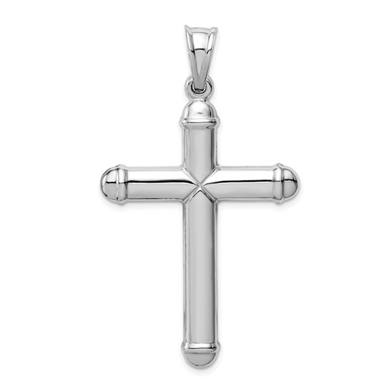 14k White Gold Hollow Cross Pendant with Rounded Ends 1 5/8in
