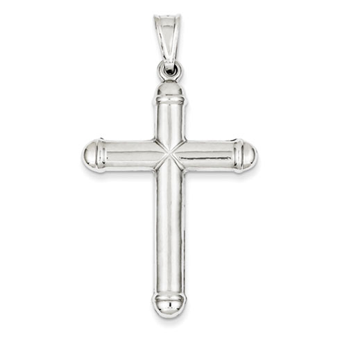 14kt White Gold 1 5/8in Hollow Cross Pendant