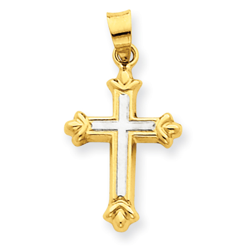 14kt Two-tone Gold 11/16in Hollow Budded Cross Pendant