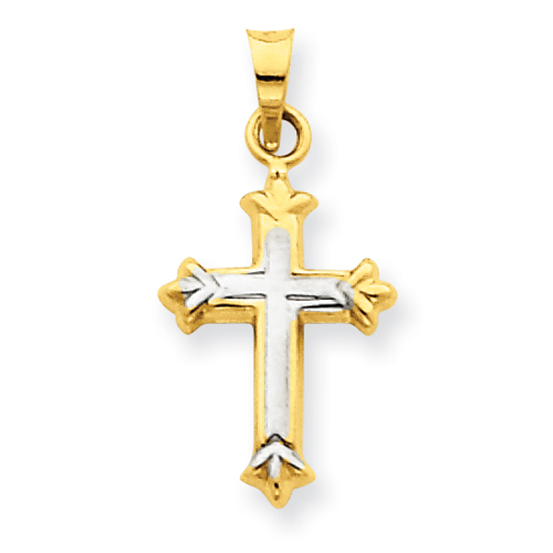 14kt Gold & Rhodium 5/8in Hollow Cross Charm