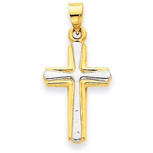 14kt & Rhodium 3/4in Cross Pendant