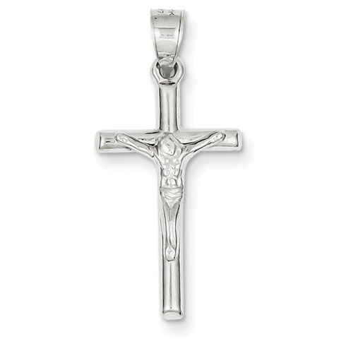 14kt White Gold 15/16in Hollow Crucifix