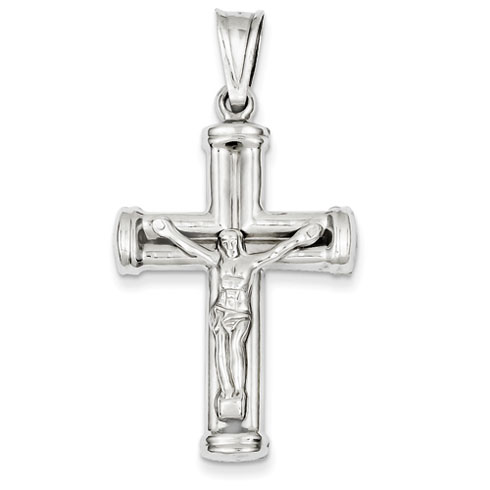 14kt White Gold 1 7/16in Hollow Reversible Crucifix /Cross Pendant