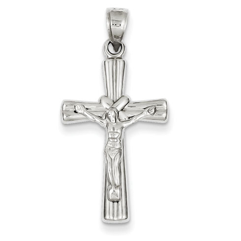 14kt White Gold 1in Reversible Hollow Crucifix Cross Pendant