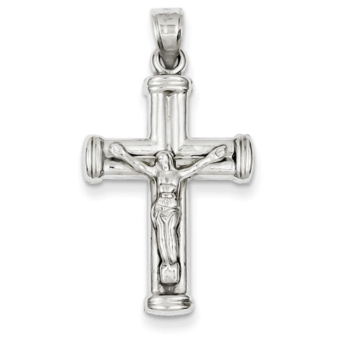 14kt White Gold 1in Hollow Reversible Crucifix /Cross Pendant