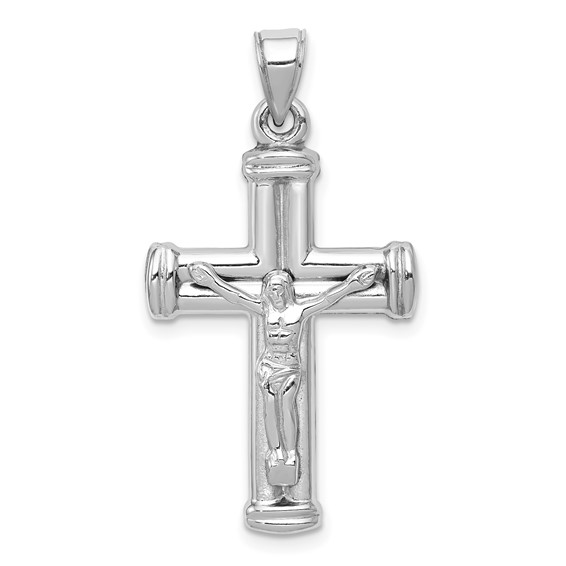 14k White Gold 1in Hollow Reversible Crucifix Cross Pendant