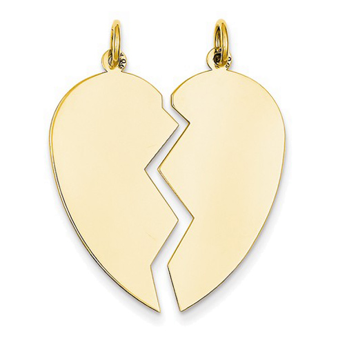 14kt Yellow Gold 1in Two Piece Heart Pendant