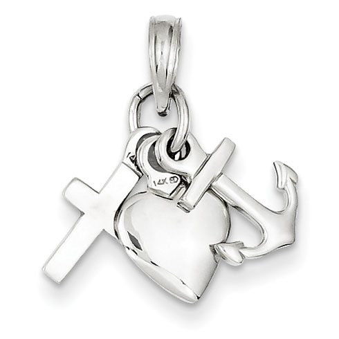 14kt White Gold 3/8in Faith, Hope & Charity Charm