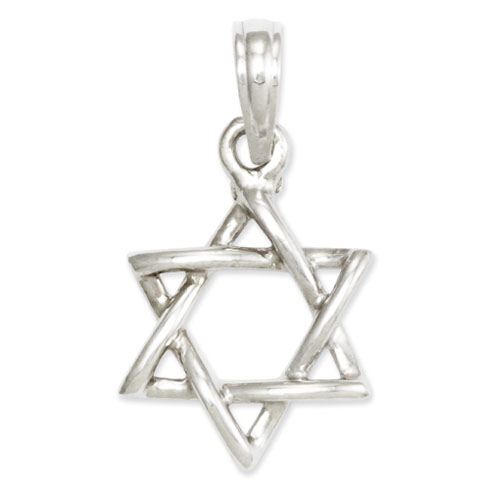 14k White Gold 1/2in 3-D Star of David Pendant