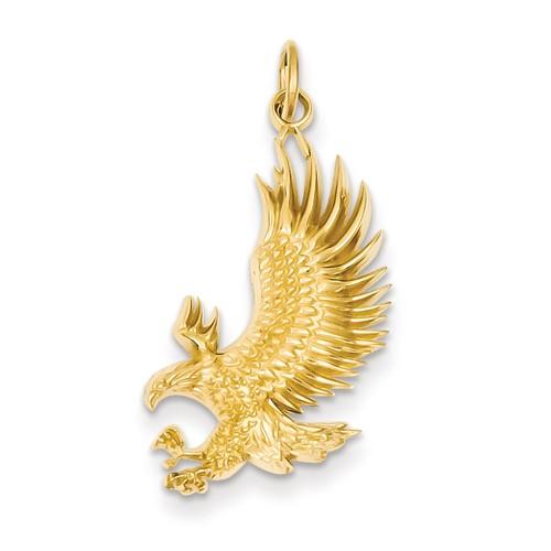 14k Yellow Gold American Bald Eagle Pendant 1in