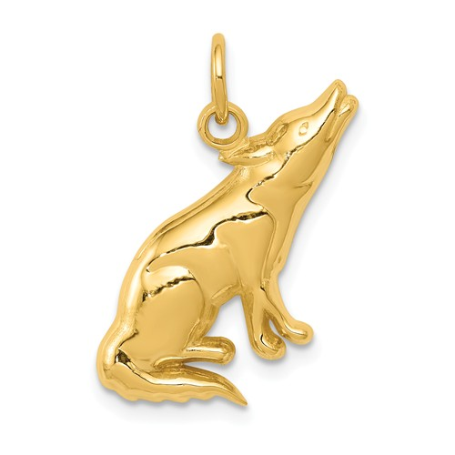 14k Yellow Gold Howling Wolf Pendant 3/4in