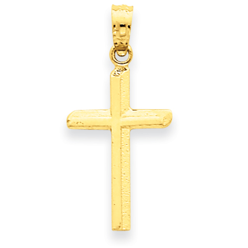 14k Yellow Gold 3/4in Polished and Textured Cross Pendant