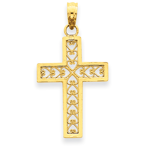 14k Yellow Gold 3/4in Filigree Cross Pendant with Hearts